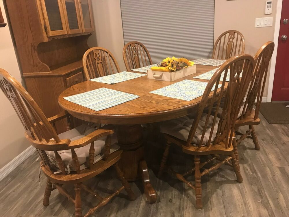 Large Solid Oak Dining Room Set Up To 96 Inch Table 6 Chairs