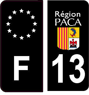 4 Autocollants 2 paires Stickers style Auto Plaque Black Edition noir F+ 13