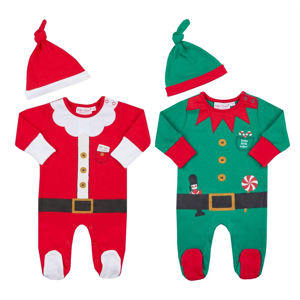 c96edf1382932 Details about Baby Sleepsuit Hat Set First Christmas Xmas Novelty Festive  Santa Elf Babygrow
