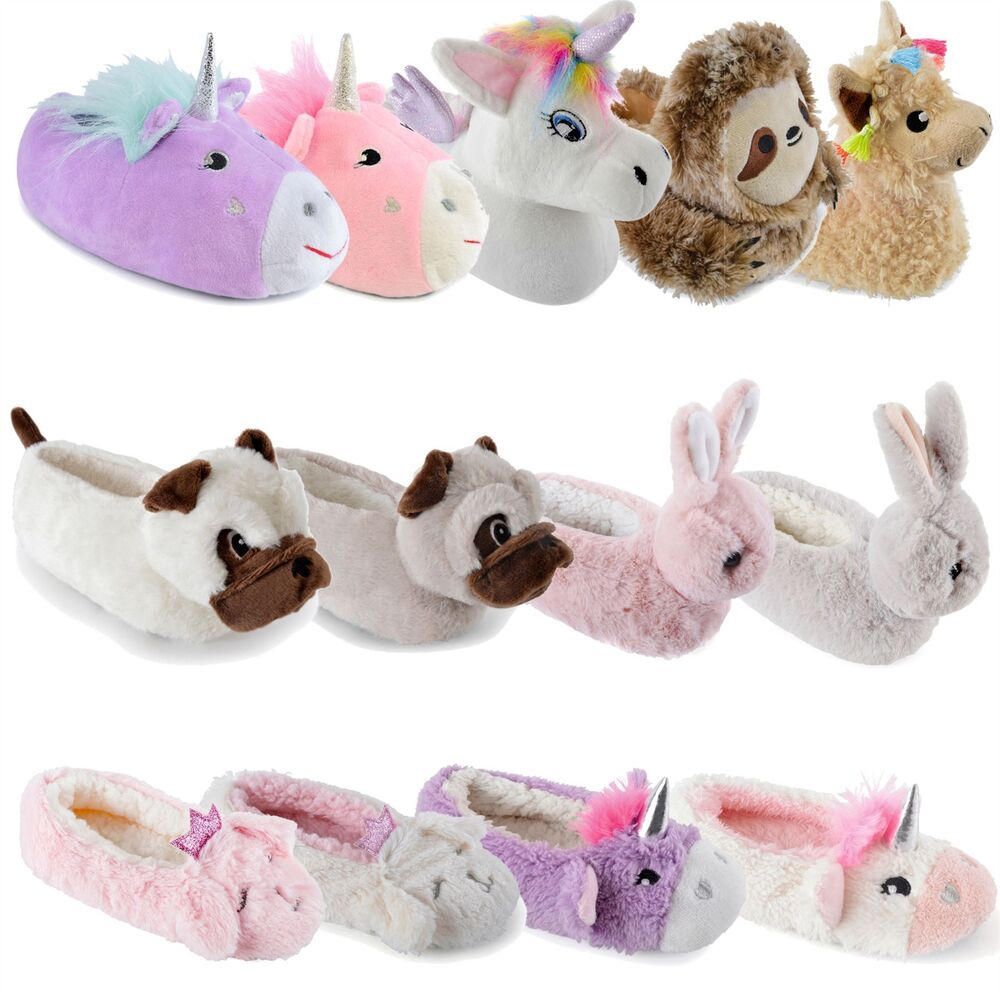 2efdc59ea6d8 Details about Kids Girls Slippers 3D Novelty Plush Animal Unicorn Bunny Warm  Cosy Fluffy Gift