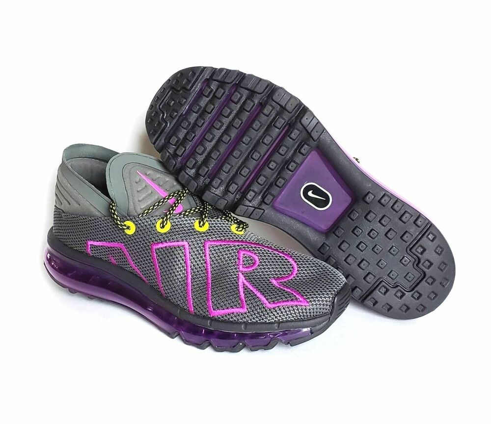 17a0177395cbaf Details about Nike Air Max Flair Up Tempo Shoes (10.5)Mens AH9711-001  Grey Purple Volt Run
