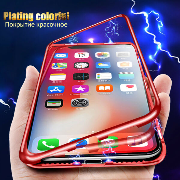 Magnetic Adsorption Case Cover For iPhone XR XS 7 8 Plus 6s Tempered Glass Cover