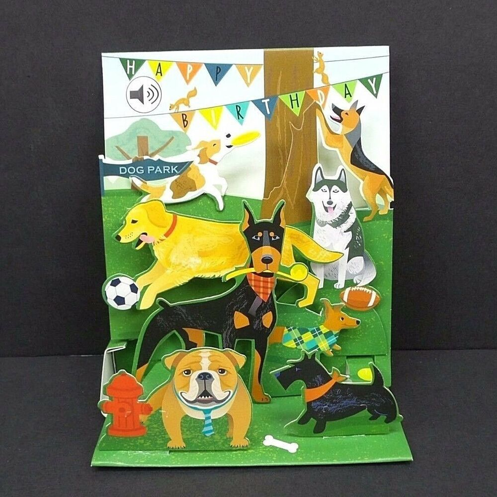 Dogs Birthday Greeting Card 3D Pop Up With Sound Effects Happy 48641354618