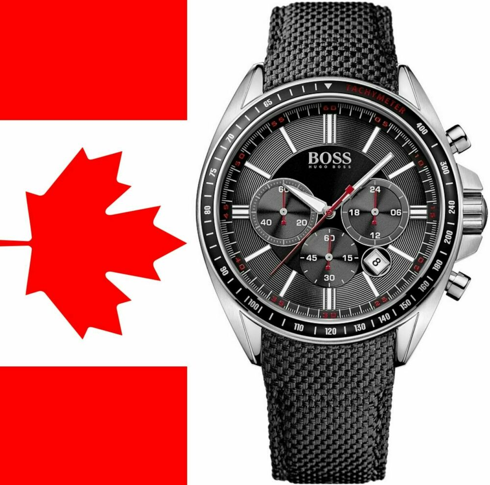 ce5bf50b8ec3 Details about KEVLAR Black Dial Chronograph 47mm Leather Hugo Boss  HB1513087 Mens Sports Watch