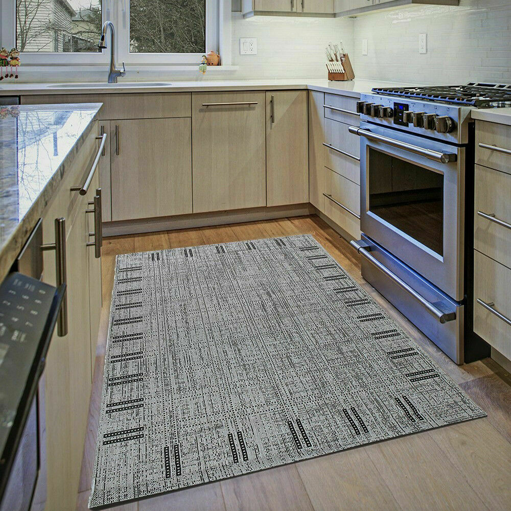 Details about grey kitchen rug small large flatweave floor carpet silver hard wearing mats new