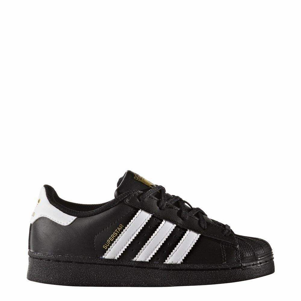low priced 4f2f6 9e21f Details about Adidas BA8349 Superstar BlackWhite Leather Preschool KIDS  Shoes