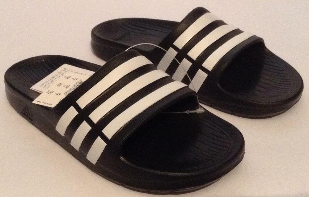 3b4f06e92a22 AUTHENTIC ADIDAS KIDS SLIDES-SANDALS - DURAMO- BLACK WHITE SIZE UK 13K  884891980920