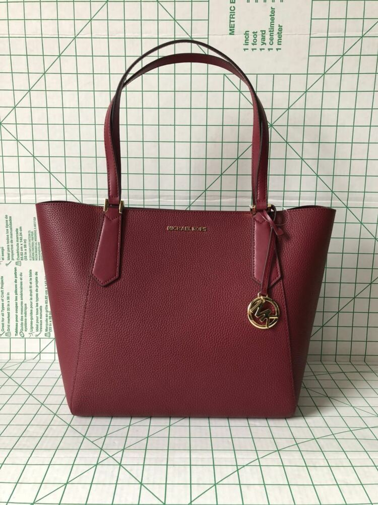 aec909403d54 Michael Kors Kimberly Large Bonded Zip Tote Leather Bag in Mulberry  192317797961 | eBay