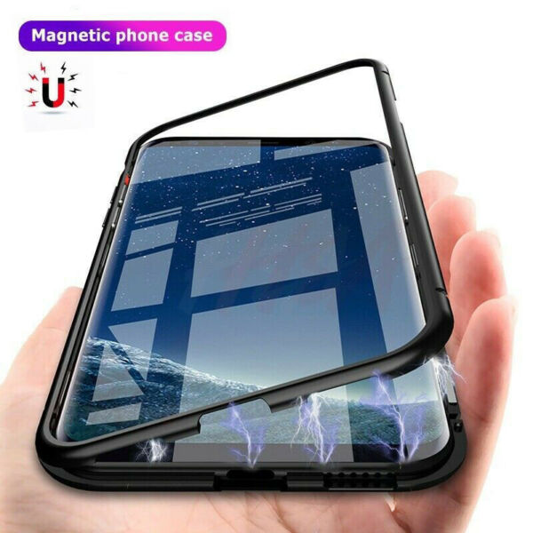 Case For Samsung Galaxy S8 S9 S10 Plus Magnetic Adsorption Tempered Glass Cover