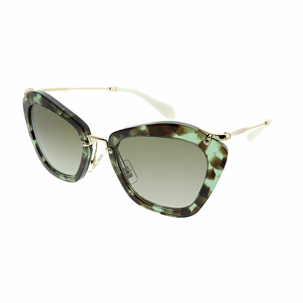feb51107b99e Details about Miu Miu Noir MU 10NS UAG4K1 Green Havana Cat-Eye Sunglasses  Brown Gradient Lens