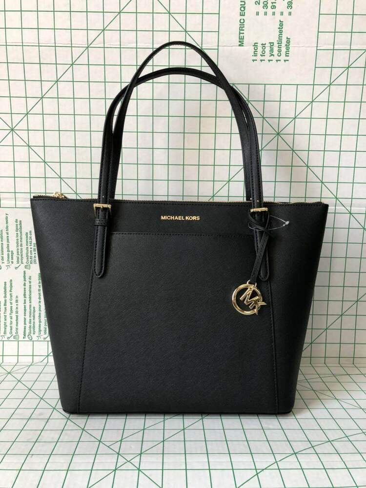 d7b817067604 Details about Michael Kors Ciara Large EW Shoulder tote Zip Top Saffiano Leather  Bag in Black