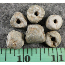 6 Early Cherokee Indian Stone Trade Beads Pisgah Culture Good Patina 250 Yrs Old