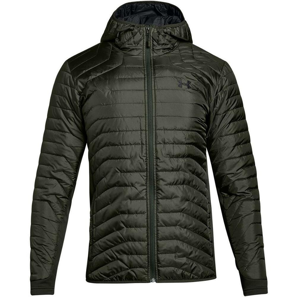 online store 1f766 8f8a8 Details about Under Armour ColdGear Reactor Hybrid Hooded Jacket - Men s  Artillery Green Puffy