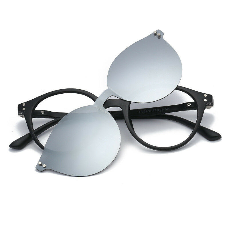 b2489bc2a0f Details about Round Magnetic Clip-on Eyeglass Frames Polarized Sunglasses  Vintage Flexible Rx