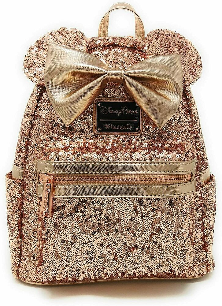 a488d18908d Details about Disney Parks Loungefly Minnie Mouse Rose Gold Sequined Mini  Backpack Disneyland