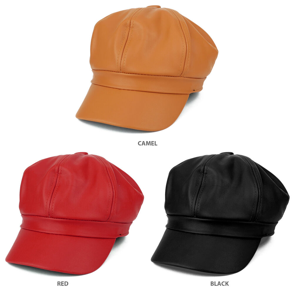 846bf22651de2 Details about Plain PU Vegan Leather Newsboy Cap (FREE SHIPPING)