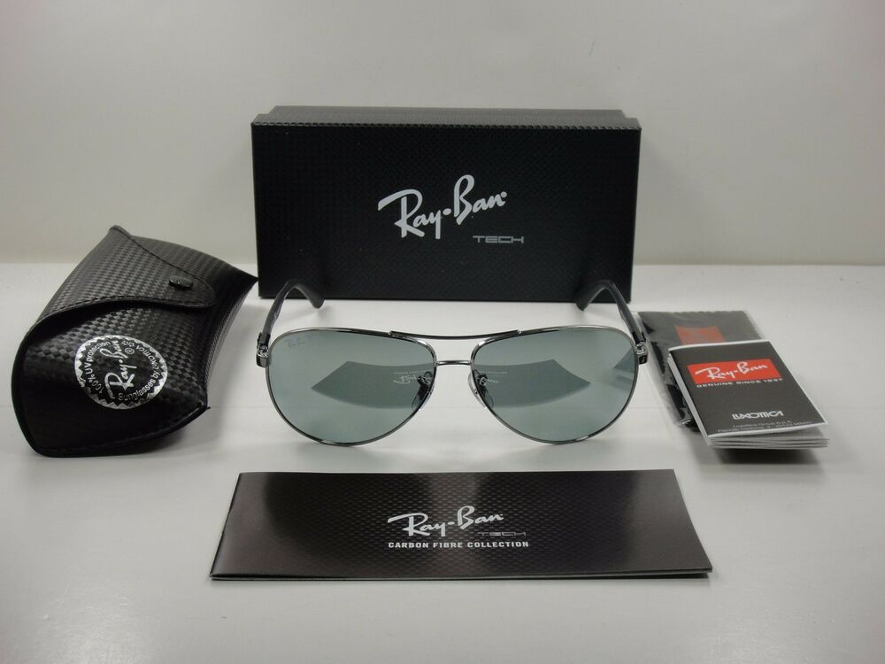 a0e595e9778 RAY-BAN TECH POLARIZED SUNGLASSES RB8313 004 K6 GUNMETAL SILVER MIRROR 58MM  NEW 8053672346305
