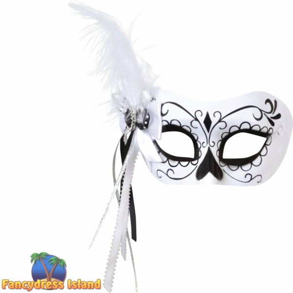 CALAVERA MASK WITH SIDE FEATHER MASQUERADE Womens Ladies Fancy Dress Costume