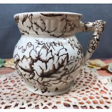Antique Brown Transferware Aesthetic Movement Pitcher 2S