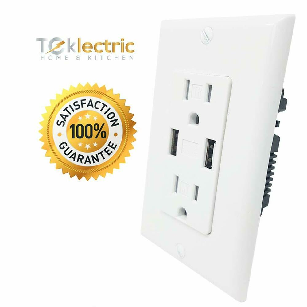 Teklectric 4 0a Ultra High Speed Dual Usb Charger Outlet