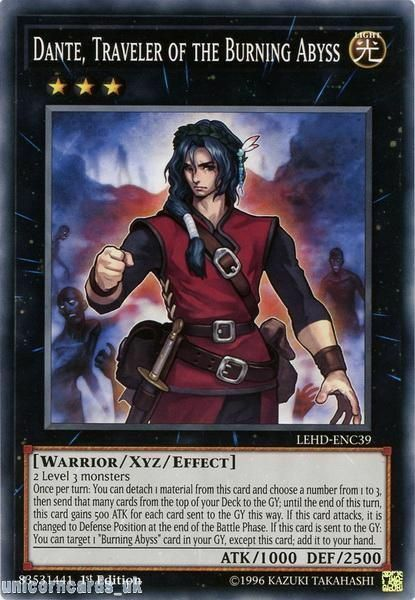 LEHD-ENC39 Dante, Traveler of the Burning Abyss 1st Edition Mint YuGiOh Card