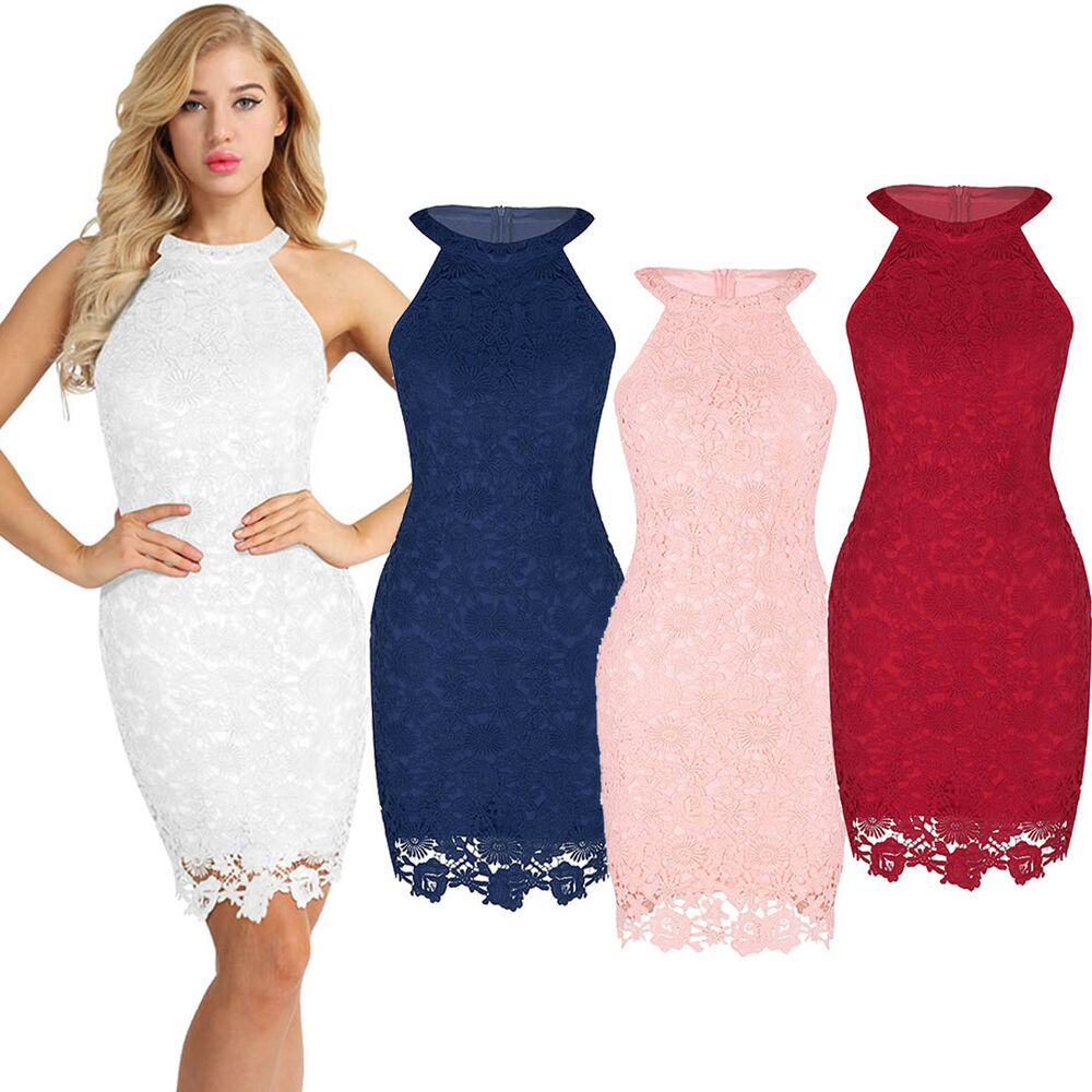 21c41c9e63 Details about Sexy Women Lace Evening Cocktail Party Dress Bodycon Halter  Midi Formal BallGown