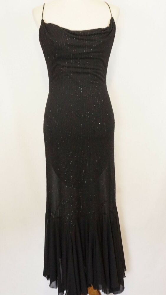 d5ed861405 Details about BETSEY JOHNSON EVENING Black Maxi Dress Size 6 Beaded  Spaghetti strap LBD Vintag