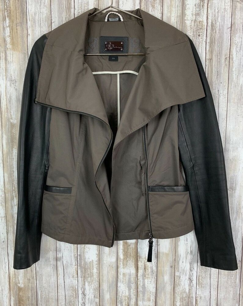 94c988e016431 Details about  495 Mackage Lindsay Brown Black Leather Trim Asymmetrical Moto  Jacket S Small