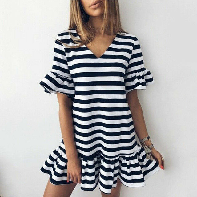 a6d4134c9 Details about Women's V neck Ruffle Black And White Striped Dress Casual  Short Sleeve Party