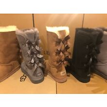 New UGG Bailey Bow Tall Sheepskin Suede Boot Triplet Triple 1007309K Girls Youth