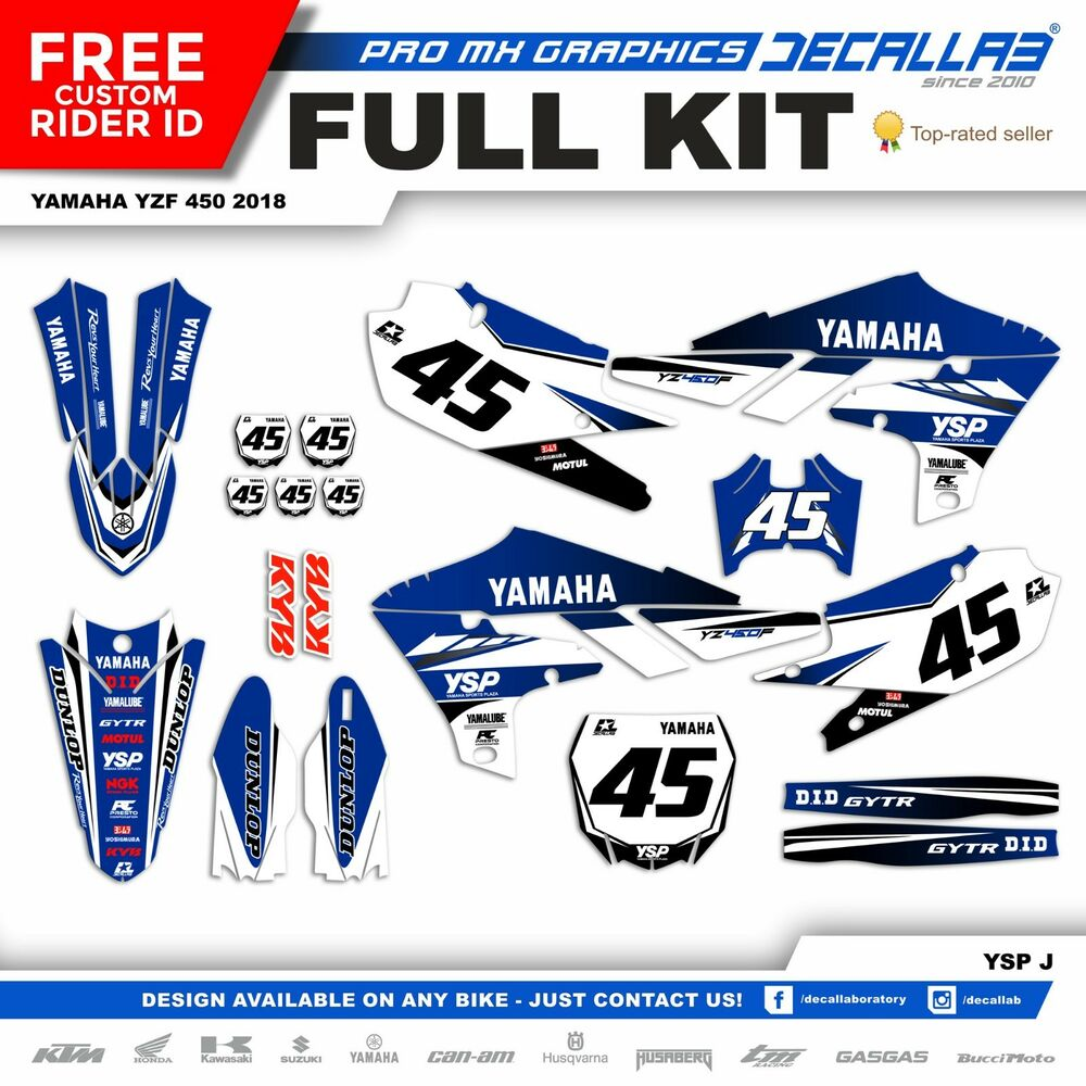 Details about yamaha yzf 450 2018 new pro mx thick graphics decals stickers durable decallab