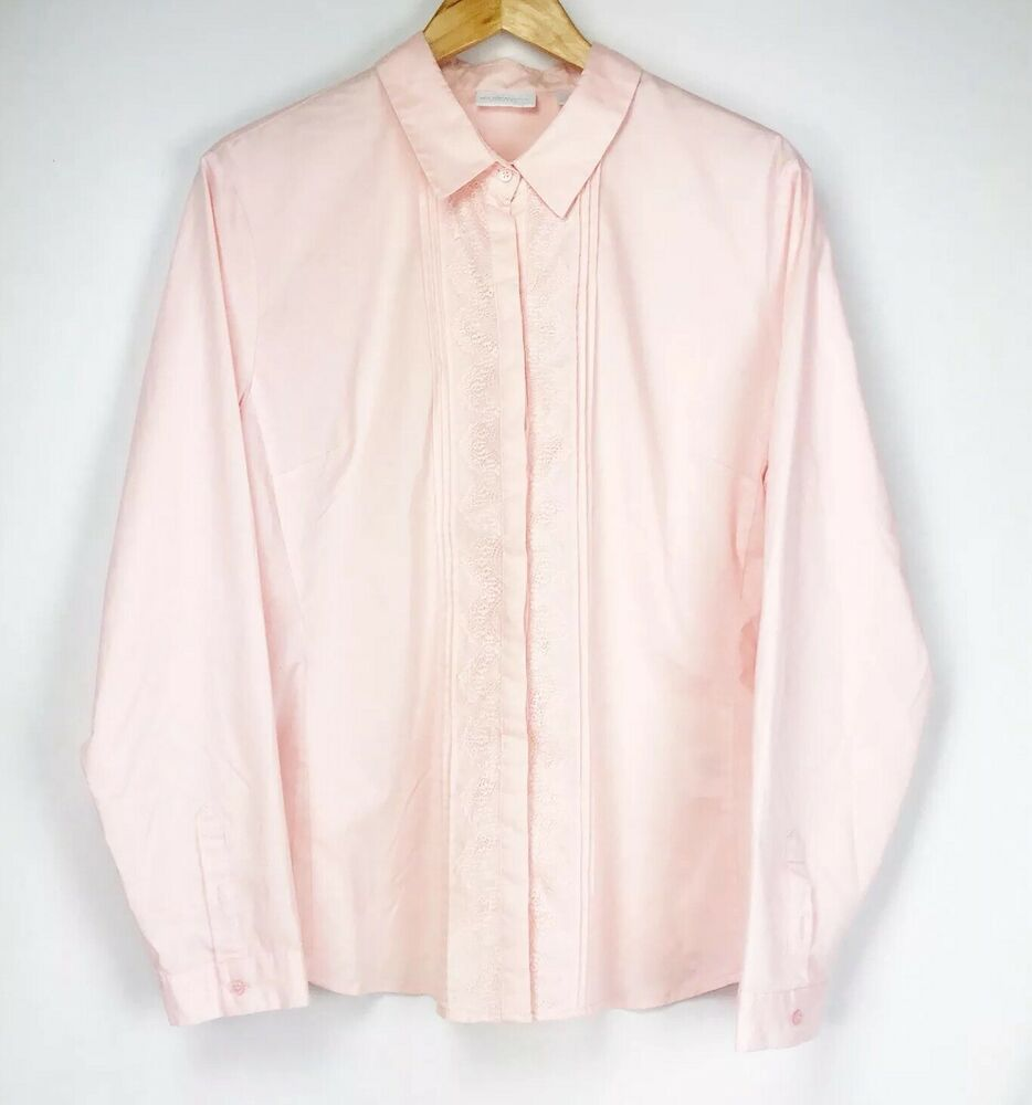 b8bbdf18 Details about New York & Company Women's Stretch Pink Striped Long Sleeve Button  Down Top XL