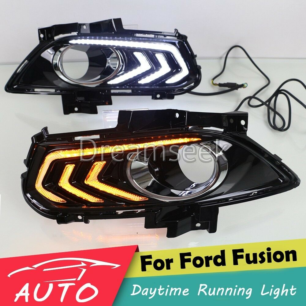 DRL LED DAYTIME RUNNING LIGHT FOG LAMP FOR FORD FUSION MONDEO WITH TURN  SIGNAL 2013 2014 2015
