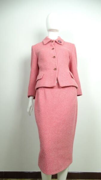 TAIER VESTITO ABTO DONNA GIACCA GONNA ROSA TAG SIZE 48