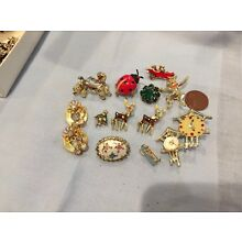 Vintage Small Pins Jewelry, Total Of 12, Good Condition