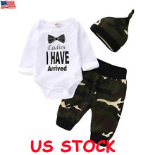 3pcs Newborn Baby Boy Top Romper Bodysuit Jumpsuit Pants Camo Outfit Clothes Set