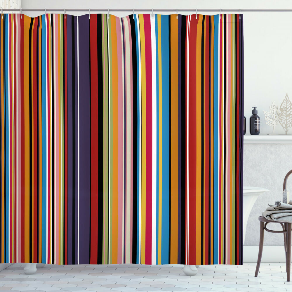Details About Abstract Shower Curtain Vibrant Colors Striped Print For Bathroom
