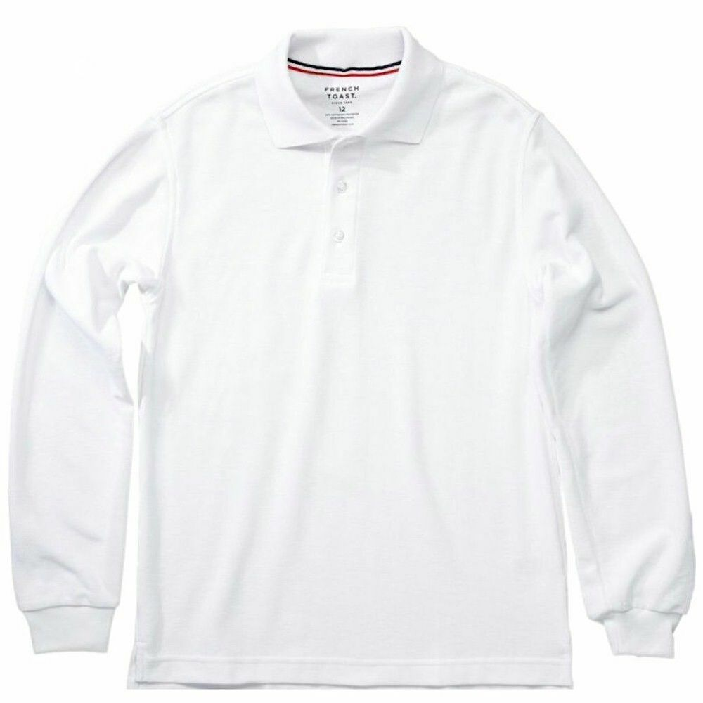 b428b34c2 Details about French Toast Toddler Boy's Long Sleeve Pique Polo White Uniform  Shirt - Size 4