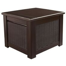 56Gal. Cube Deck Box Outdoor Resin Patio Furniture Storage Weave Pattern, Brown