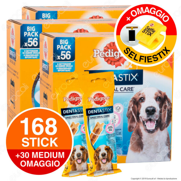 168 Pedigree Dentastix Medium Igiene Orale del Cane - 3 Confezioni da 56 Stick