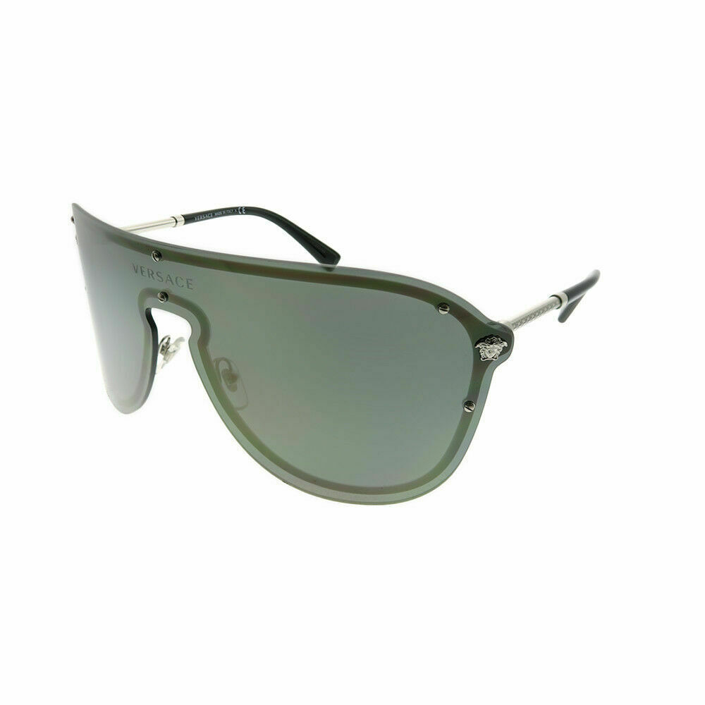 c9fcba8a10842 Details about Versace VE 2180 10005A Silver Metal Shield Sunglasses Gold  Mirror Lens
