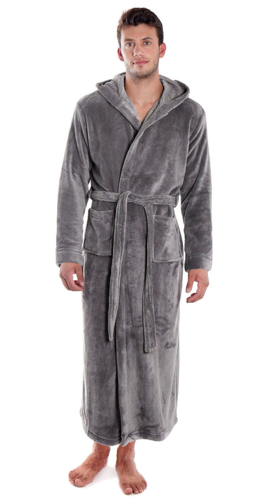 37e5a6c2b7 Details about Men Women Flannel Bathrobe Plush Soft Warm Hoodie Bath Robe  Spa Robe Sleepwear