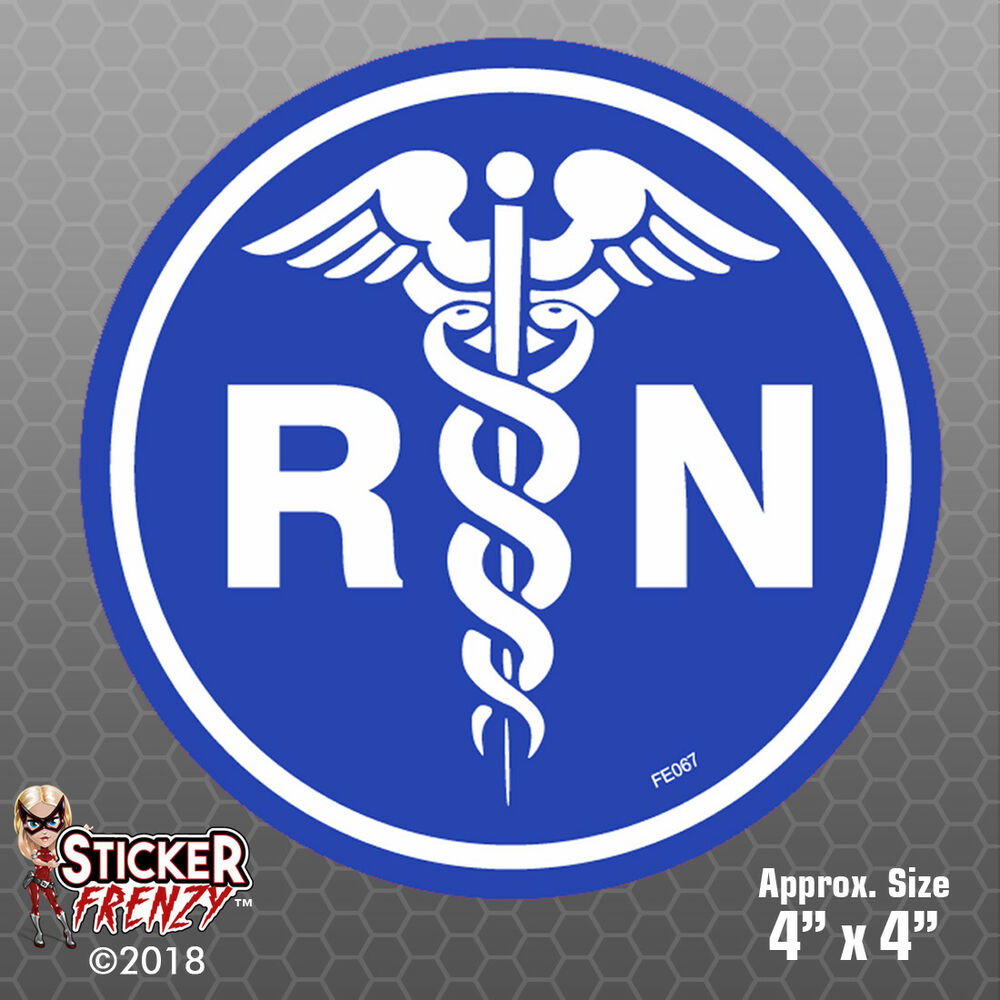 Details about rn caduceus round stickers safety vinyl decal ems cross nurse medical fe067