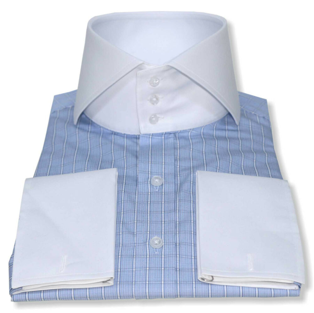 Mens High Collar Shirts Bankers White Cutaway Collar 3 Buttons Blue
