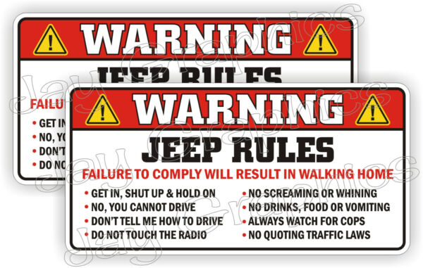 Jeep Rules Warning Stickers Funny Safety Instructions Decals JK JL XJ Wrangler