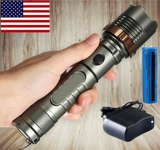 100000Lumens Small Tactical Rechargeable T6 LED Flashlight Torch+Battery+Charger