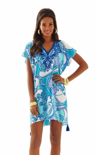 Nuovo Lilly Pulitzer Sydney Abito Caftano Searulean Test The Water Blu Marine S/
