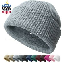 Ribbed Thick Beanie Plain Knit Cuff Ski Cap Skull Hat Warm Solid Color Winter