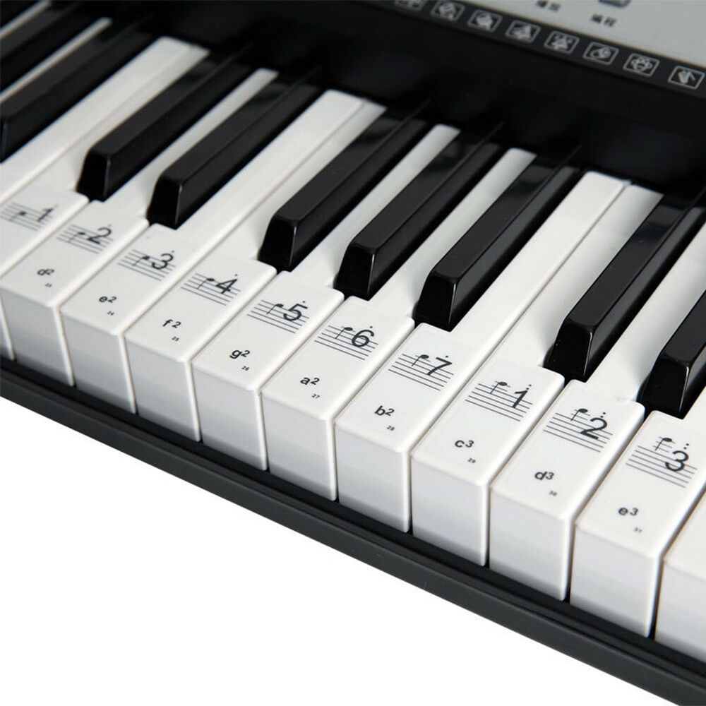 c800ef4cc89 Details about 54 61 88 Key Music Keyboard Piano Stickers Set Removable  Transparent Note Labels