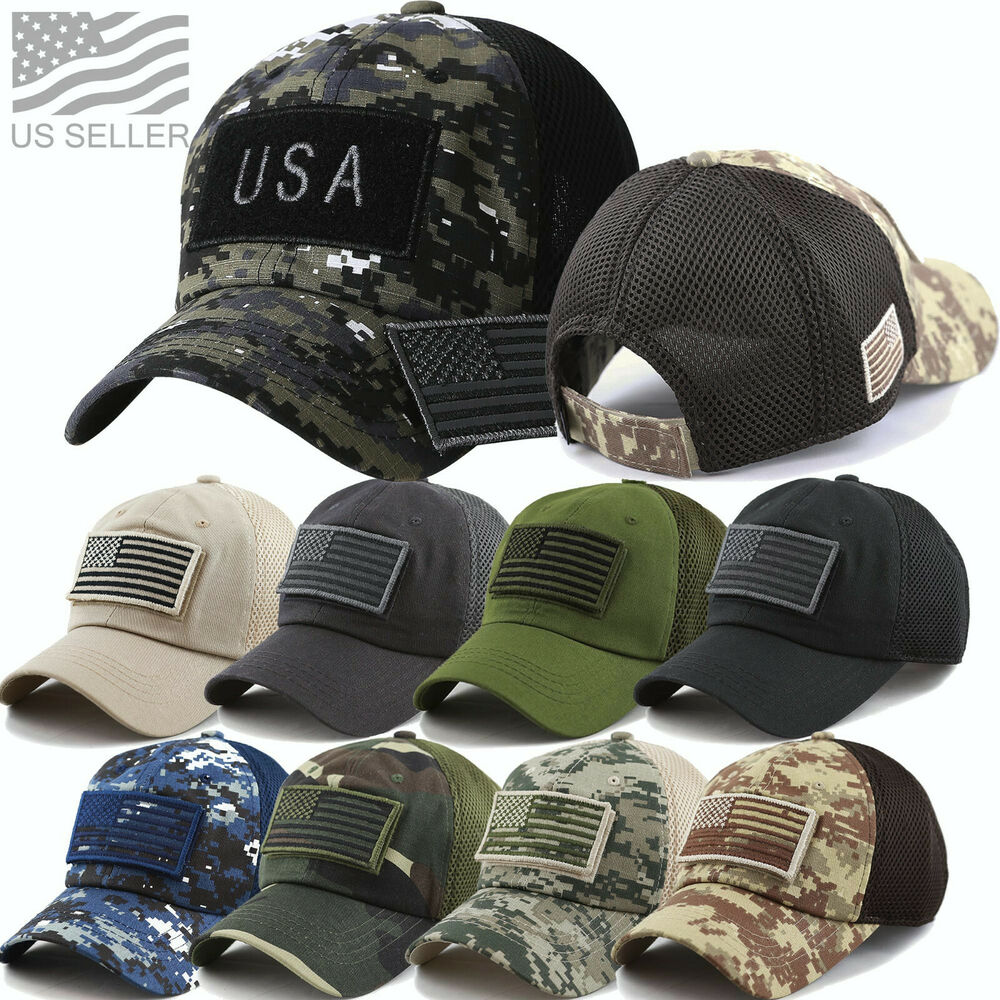 55ea24b022f Details about USA Military Camo US Flag Baseball Cap Mesh Trucker Tactical  Operator Army Hat